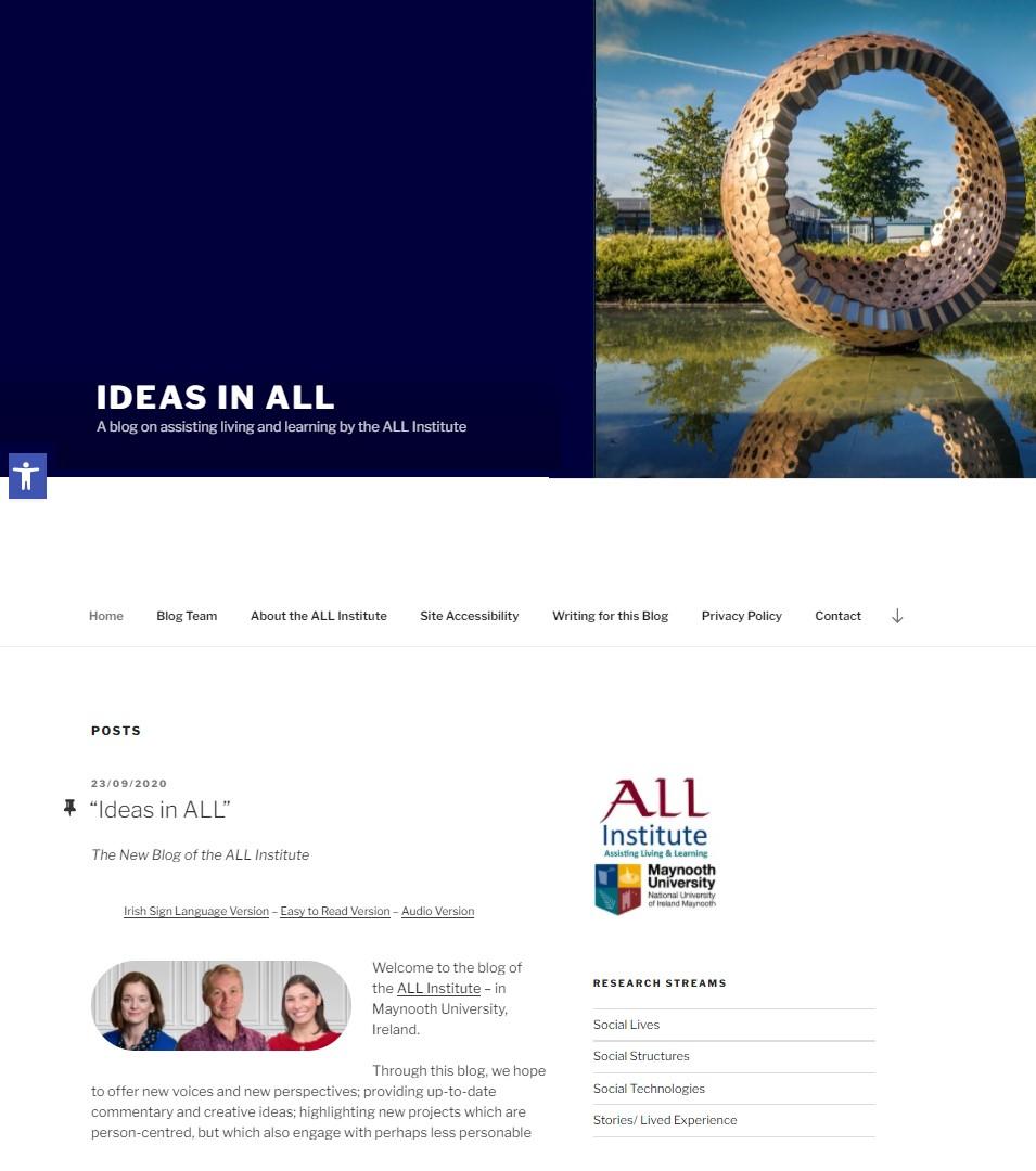 Ideas In ALL Blog:A blog on assisting living and learning by the ALL Institute, Maynooth University.