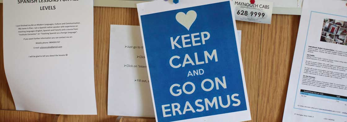 International Office - Erasmus sign  - Maynooth University