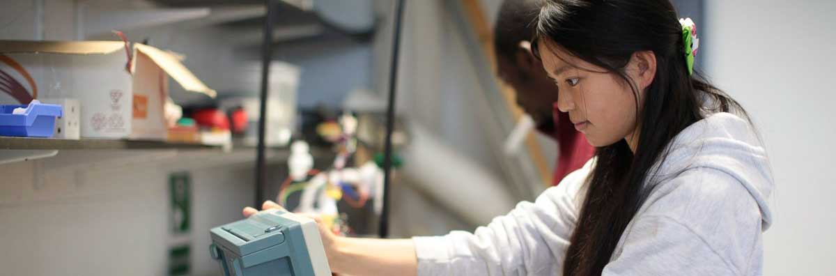 Electronic Engineering - Female Student Working in the Lab - Maynooth University