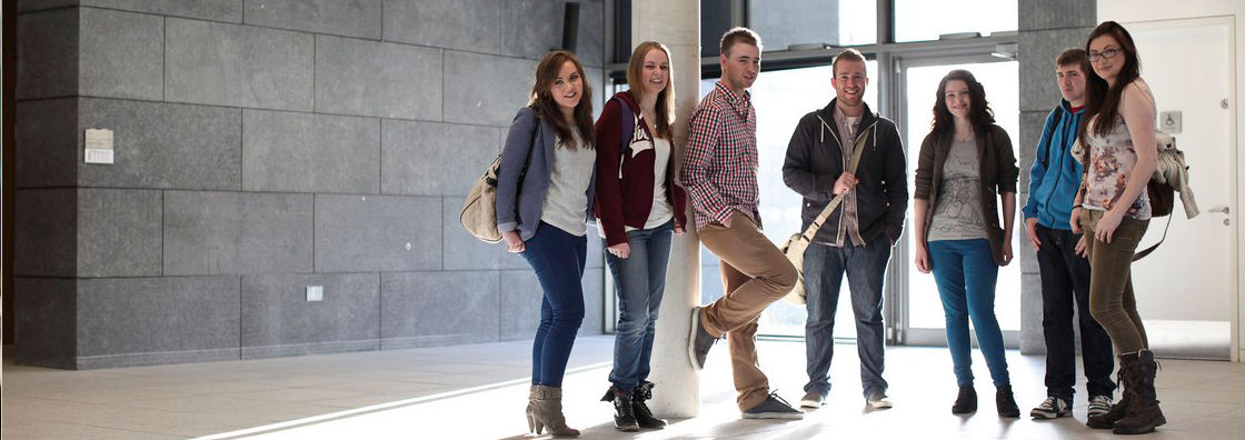 Students inside John Hume Building at Maynooth University