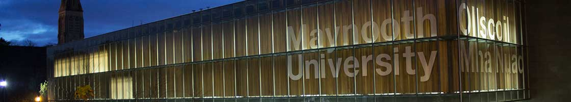 Communications - Library Sign at night 1120 x 200- Maynooth University