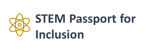 Text reads STEM Passport for Inclusion. Generic atomic symbol in orange right hand side of text