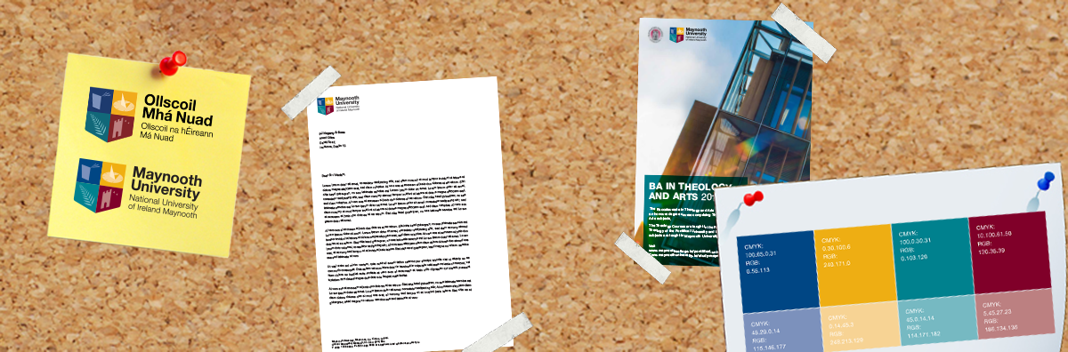 Communications & Marketing - identity guidlines notice board photoshop graphic 1200 x 396 - Maynooth University