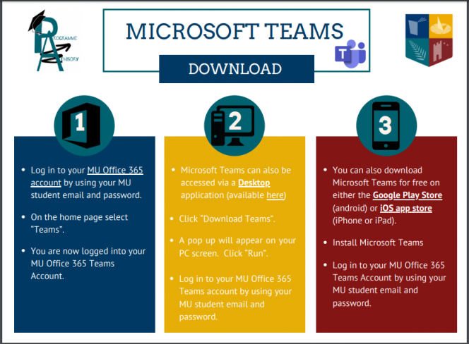 Infographic explaining three options for downloading Microsoft Teams