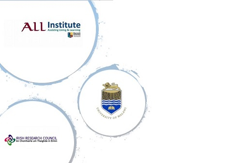 Psychology Applicable Project Launch-- logos of ALL Institute at Maynooth University, University of Malawi and the Irish research Council