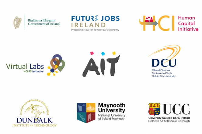 Logos from all of the HEIs involved with Virtual Labs plus the HCI & Future Jobs