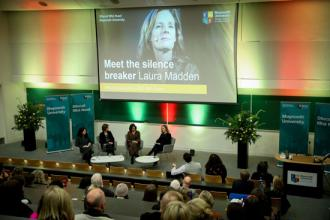 The stage at Laura Madden's event in Maynooth University