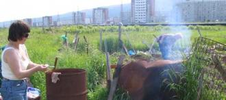 Women tending their potato gardens in Magadan, Russia
