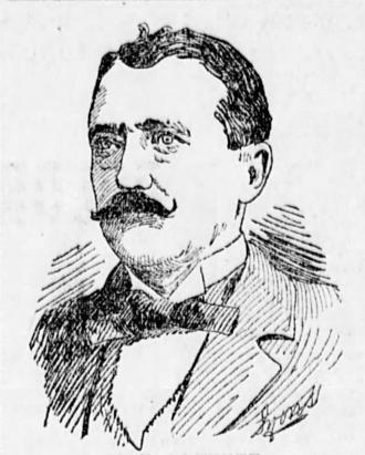 A pencil portrait of Edward Blewitt, he has dark hair, a waxed moustache and is wearing a suit and necktie