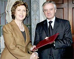 History - President Mary McAleese with Professor John Hughes - Maynooth University