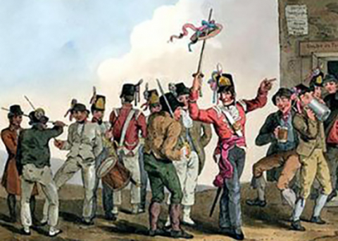 'British army recruiting party entices civilians to enlist', by R. and D. Havell after George Walker, published in 1814. Image courtesy of Wikimedia.