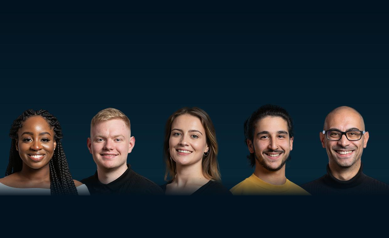 Portrait shots of 5 students against a dark blue background