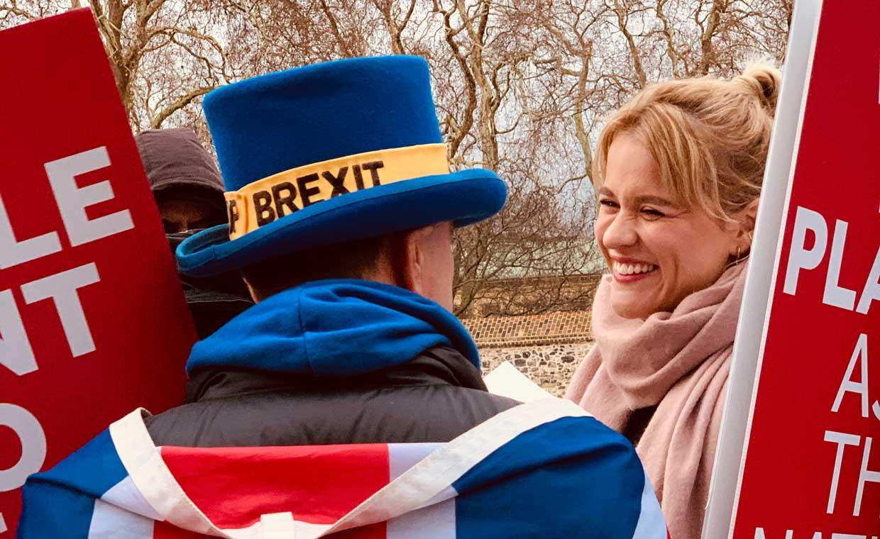 This picture shows a man wearing a Union Jack cloak and a Brexit top hat