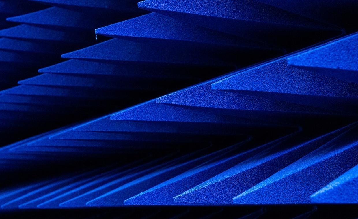 A close up of the foam spikes in an anechoic chamber