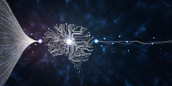A graphical representation of big data in the shape of a brain on a space-like background with data flowing in and flowing out