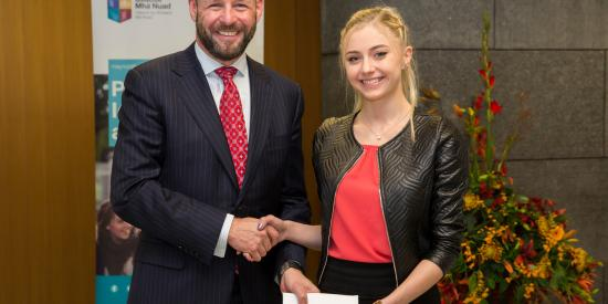 Prof Philip Nolan, President of Maynooth University with Aisling Kennedy, Sociology student