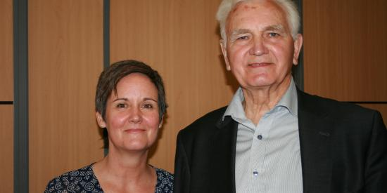 FE Student Alice Bennett and Professor Vincientas Dienys from the Ministry of Education in Lithuania