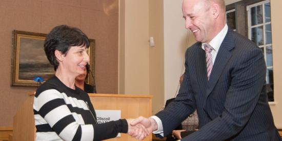 Dr. Ann O'Shea receiving CTL Teaching Fellowship