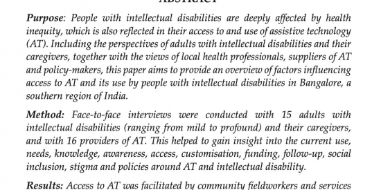 Publication of Disability, CBR and Inclusive Development entitled: Views and Experiences of People with Intellectual Disabilities to Improve Access to Assistive Technology: Perspectives from India