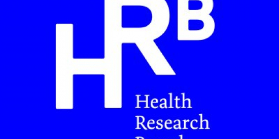 Blue background with white HRB letters with the text Health Research Board underneath