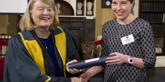 Dr Deborah Hayden receives Charlemont Grant from RIA President Mary Daly