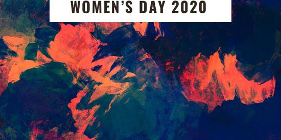 """International Womens Day 2020"" on an abstract floral background"