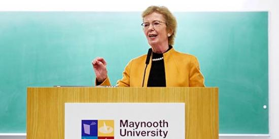 Communications & Marketing - Edward Kennedy Mediation Conference Mary Robinson at Lecturn  - Maynooth University