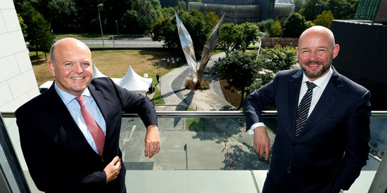 Pic shows ( left to right ) Colin Hunt, Chief Executive Officer of AIB and Prof Philip Nolan, President of Maynooth University. on the balcony of the Education Building with the Freedom Sculpture in the Background