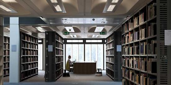 Library - Wide perspective with bookshelves - Maynooth University