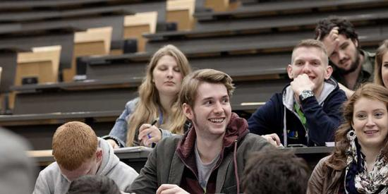 Student Services - Students in large lecture theatre in Iontas - Maynooth University