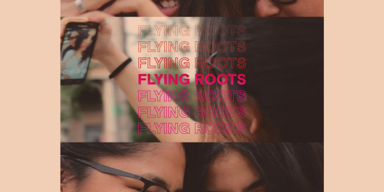 Pink Background. Three still images from the film showing teenagers as they document their lives for the film with the words Flying Roots horizontally repeated in the foreground.