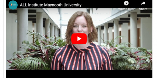 Still of ALL Promo Video with text 'ALL Institute, Maynooth University'