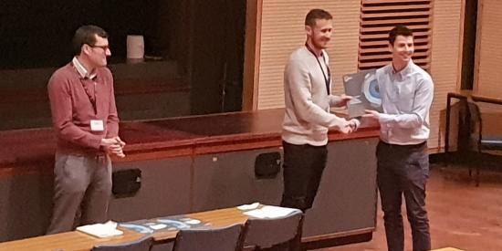 Dr. Seán Doyle receiving an award at the RSC Analytical Biosciences Group Early Career Researcher Meeting