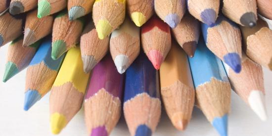 Photograph of colourful pencils