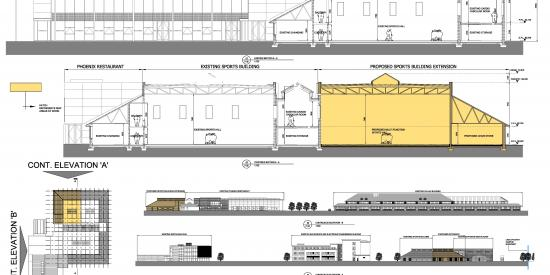 drawing of sportshall extension plan