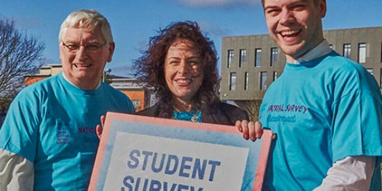 Student Survey Launch - Prof Jim Walsh, Dr Alison Hood and Dillon Grace Maynooth SU
