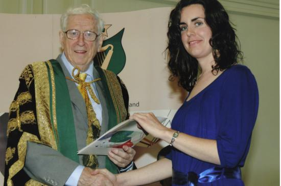 Julie Finnerty with late Dr Garret FitzGerald (at the presentation of the NUI Travelling Studentship award in 2008).